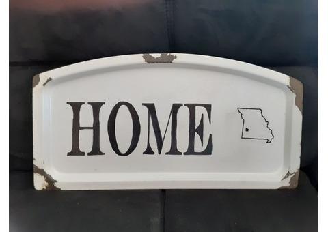 "Vintage Enamelware Cedar County ""Home"" Sign"